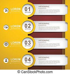 papier, infographic, banner, elemente