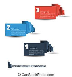 papier, infographic, bannière, option, flot travail