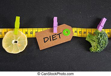 papier, inscriptie, geschreven, label, dieet
