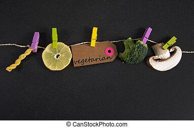 papier, inscriptie, vegetariër, label, geschreven