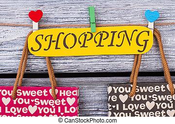 papier, inscription, shopping., carte, jaune