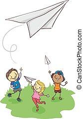 papier, jouer, crosse, avion, gosses