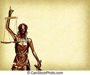 papier, justice, fond, vieux, statue, droit & loi, concept