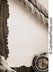 papier, kabels, oud, kompas