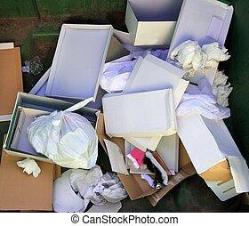 papier, karton, container, afval, restafval