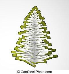 papier, kerstboom, groene