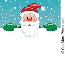 papier, kerstman, vasthouden, leeg