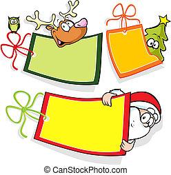 papier, kerstmis, label