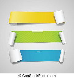 papier, kleurrijke, lang, verzameling, rol