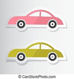 papier, knippen, auto's