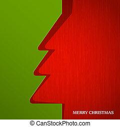 papier, knippen, boompje, kerstmis, uit
