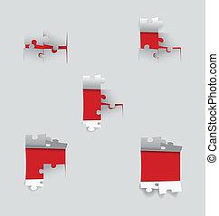 papier, knippen, illustration., vector, puzzle.