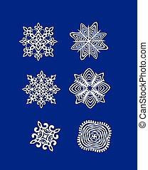papier, knippen, snowflakes, uit