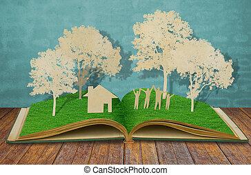 papier, knippen, van, gezin, symbool, op, oud, gras, boek,...