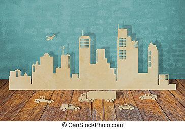 papier, knippen, van, steden, met, auto, en, schaaf