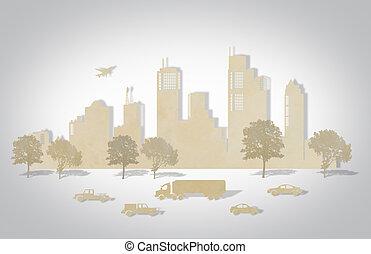 papier, knippen, van, steden, met, boompje, auto, en, schaaf