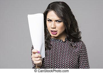 papier, kobieta handlowa, ręka