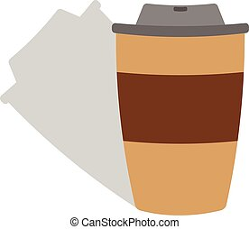 papier, koffie, pet, kop
