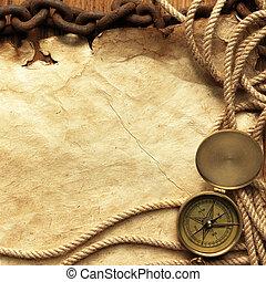 papier, kompas, koord, ketting
