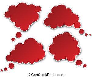 papier, komplet, czerwony, clouds.