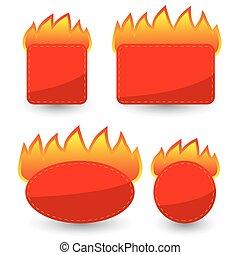 papier, komplet, majchry, czerwony, płonący