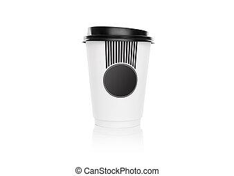 papier kop, voor, coffee.