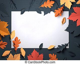 papier, kunst, -, herfst, dalingsbladeren, achtergrond