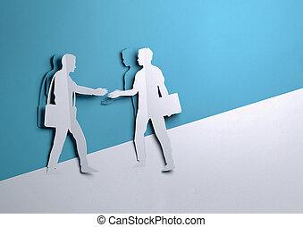 papier, kunst, -, zwei geschäftsmänner, hände rütteln, auf, a, karten geben