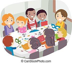 papier, kunszt, stickman, rodzina