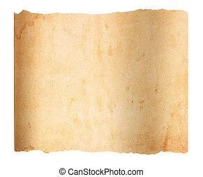 papier, légèrement, vide, déchiré, vieillissement, bordage