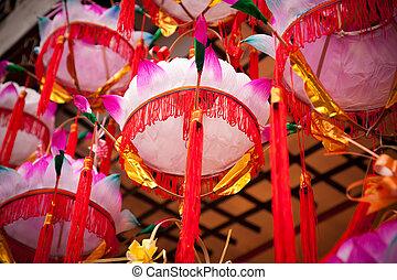 papier, lanterns-, lampe, chinois, fleur, lotus