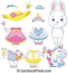 papier, lapin, poupée, blanc