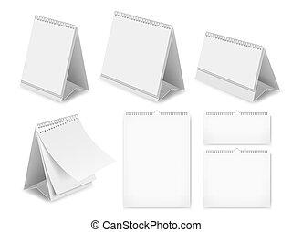 papier, leeg, bureau kalender, set, vector, realistisch, illustratie