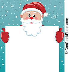 papier, leeg, vasthouden, kerstman