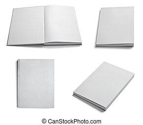 papier, lehrbuch, leer, schablone, weißes, notizbuch, ...
