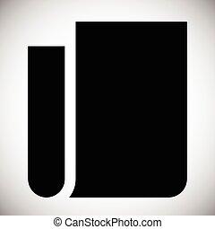 papier lettres, bloc-notes, résumé, plié, symbole., papier, icon., vide