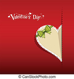 papier, lint, hart, groene