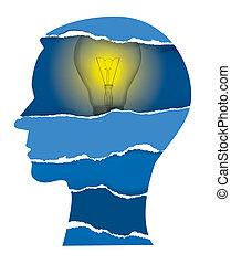 papier, lumière, tête, déchiré, ampoule