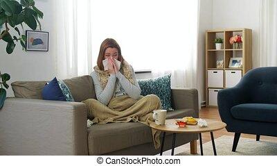 papier, maison, nez, femme, souffler, malade, tissu
