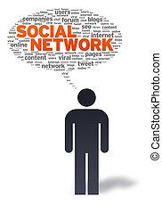 papier, man, met, sociaal, netwerk, bel