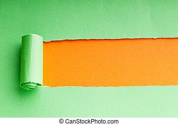papier, message, déchiré, ton, espace