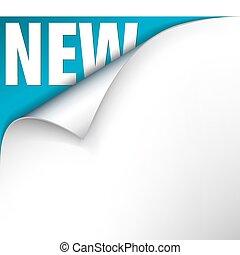 papier, met, krul, en, nieuw, lettering