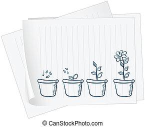 papier, mit, zeichnung, von, a, wachsen, pflanze