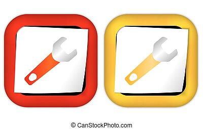 papier, moersleutel, set, twee, iconen