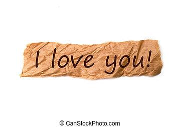 papier, morceau, titre, amour, vous