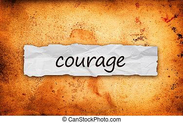 papier, morceau, titre, courage