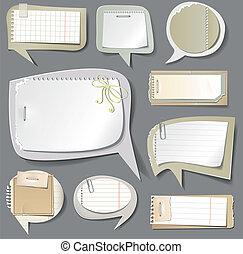 papier, mowa, bańki, retro