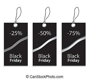 papier, noir, coût, vendredi, étiquette