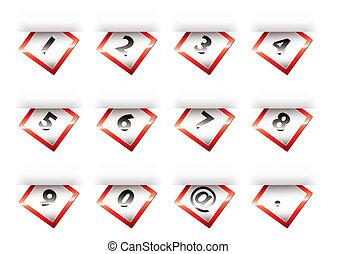 papier, nombres, onglet, rouges