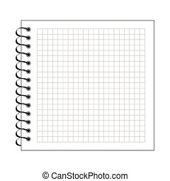 papier, notatnik, spirala, ilustracja, czysty